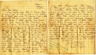 Letter from T. P. Walsh to Mrs. Fahy, dated 20 April 1917. Walsh was KIA on 4 May 1918. | Courtesy of Pete Kelly.