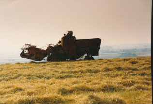 Combine Harvester at Clives Hill. | McGing Family Collection.