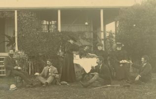 The children of Mary & Richard Cooke at Richard Cooke's wake, 1900: (L to R) George Cooke, Edward Cooke, Alice Cooke, Josephine Menerey (later married Edward Cooke), Helen Cooke, Richard Cooke (with rifle) and William Cooke. John and Lily Cooke are not present.   (Image: Rod Davis). Used with permission