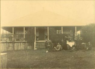 Cooke family home at Mossdale, Goombungee, Queensland. Photo taken at the wake for Richard Cooke in 1900   (Image: Rod Davis). Used with permission