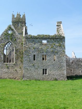This structure at Ross Errilly Franciscan friary, near Headford, Co. Galway, is locally known as 'Burke's Castle'.  It has also been incorrectly referred to as the 'Abbot's House'.  Ross Errilly itself has often been called 'Ross Abbey', a misnomer, as this Franciscan house did not have an abbot. | Yvonne McDermott