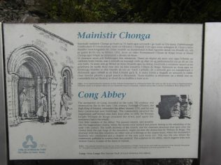 Signage from Cong Abbey, Co. Mayo.  As a house of the Augustinian Canons, this can correctly be called an abbey.