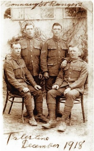 Patrick Lynskey (third from left), Connaught Rangers, 1918. | Courtesy of Greg Quinn.