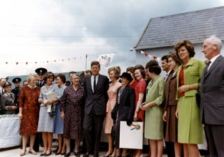 President Kennedy with relatives at the Kennedy family homestead, Co. Wexford. | Courtesy of JFK Presidential Library & Museum, Boston.