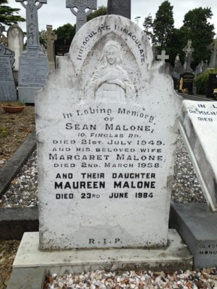 Headstone on Grave of S. Malone. | D.Joyce. Family Collection.