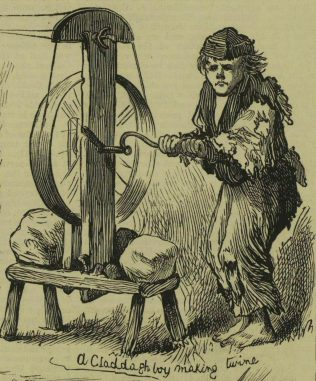 A Claddagh boy making twine, by Harry Furniss. | Illustrated London News, 31 January 1880, p. 116.