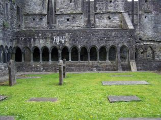 Cloister of Sligo Dominican friary, built in the Gothic style.  As part of the Dominican order in which the office of prior existed, this house can correctly be called a friary or priory. | Yvonne McDermott