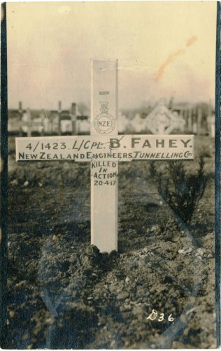 Postcard showing a temporary grave marker for Bernie Fahy. | Courtesy of Pete Kelly.