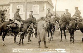 George Henry Morris (centre) & officers of the Irish Guards on horseback, Vadencourt, France, 1914. | Courtesy of Redmond Morris.