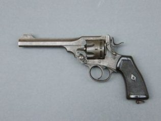 The Webley Mk VI revolver was manufactured by Webley & Scott, Birmingham. It became their best-know model, being officially adopted in 1915, during the Great War (1914-1918). | Courtesy of Galway City Museum.