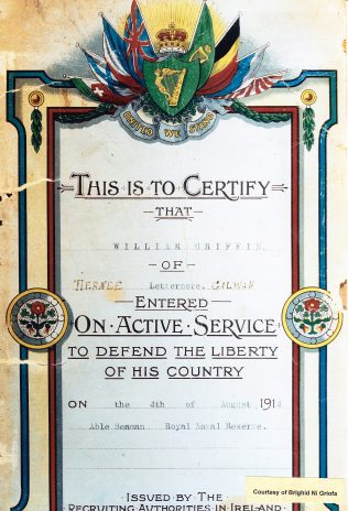 William Griffin's (Willie Ó Gríofa) Certificate of Active Serivice. | Coutresy of Bríghíd Ní Gríofa.