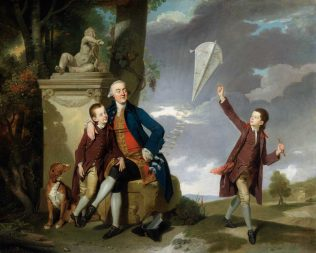 Johann Zoffany: Portrait of George Fitzgerald with his Sons George and Charles (roughly 1764) | National Gallery of Ireland and Crawford Gallery