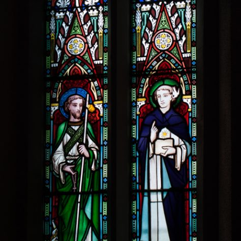 Stained glass window depicting St Francis and St Thomas Aquinas | Catherine O'Dowd