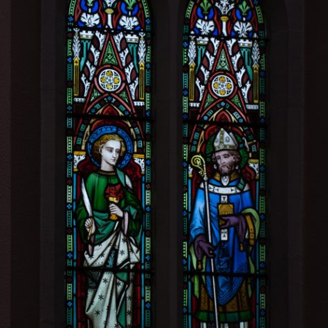 Stained glass window depicting St John and St Thomas a Becket | Catherine O'Dowd