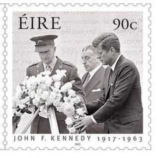 One of a series of Irish postage stamps specially commissioned to commemorate the 50th anniversary of the visit of President Kennedy to Ireland. | Courtesy of An Post.