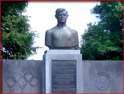Bust of Martin J Sheridan in Village of Bohola | https://www.mayo-ireland.ie/Mayo/Towns/Bohola/