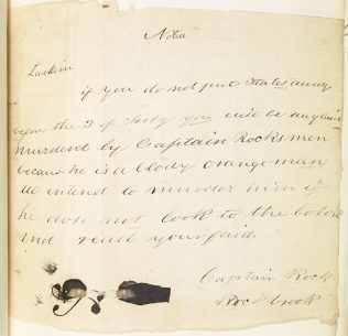 Object No. 80 'Captain Rock' threatening letter, 1842 | National Library of Ireland