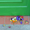 Flowers on doorstep