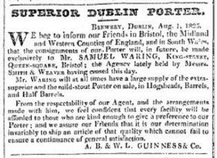 Exports to Bristol | 1825 Bristol newspaper