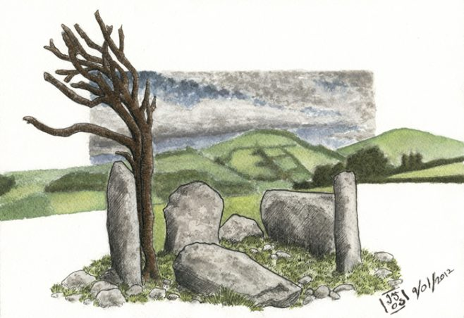 Lettergorman Five-stone circle | Illustration by JG O'Donoghue