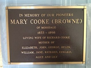Mary Cooke memorial plaque, Goombungee Cemetery, Queensland.   (Image: Jan Gallagher. Used with permission)