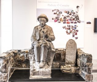 Statue of Ó Coniare at Galway City Museum, 2012. | Photographer: Reg Gordon.