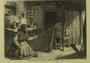 Woman Making Nets in the Claddagh, Galway. | Illustrated London News, 4 June 1870.