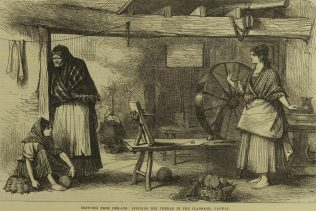 Sketches from ireland: Spinning Net Thread in the Claddagh, Galway. | Illustrated London News, 16 July 1870, p. 61.